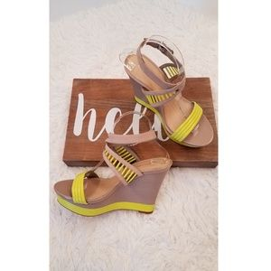 Gianni Bini Leather and Neon Ankle Strap Wedge